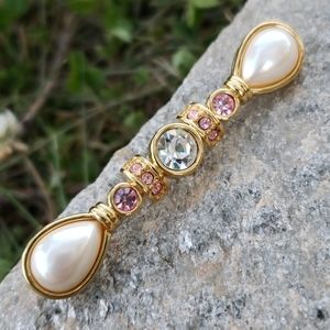 Vtg Monet Pearl Pink Clear Rhinetone Bar Brooch